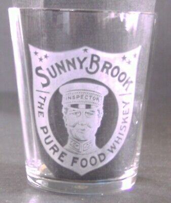 SUNNY BROOK The Pure Food Whiskey Pre Pro Etched Shot Glass Picture INSPECTOR