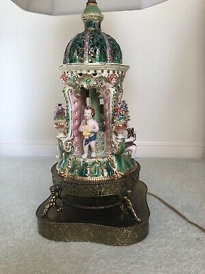 Capodimonte lamp, Italian very unusual, excellent condition, 31 inches tall