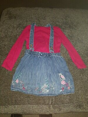 Girls Denim Pinafore Outfit Age 3-4 George Dungaree dress with top