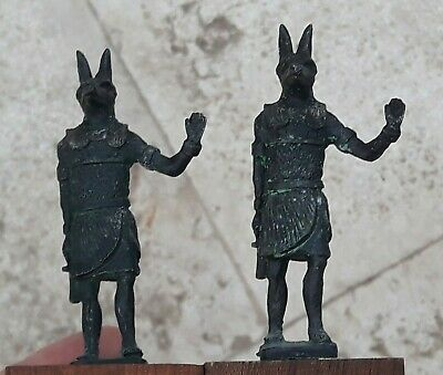Antique 2 Statues Anubis Egyptian God Egypt  RARE Ankh Grand Tour (?) Figurines