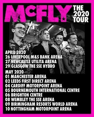 Mcfly The 2020 tour Birmingham resorts world arena 9th May 20 x2 tickets seated