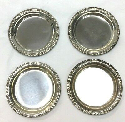 Vintage 4 Set Sterling Silver Wallace Butter Pat Plates Coasters Dishes
