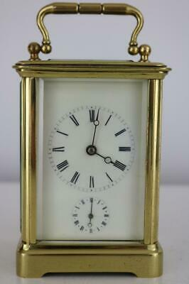 Good Antique French Carriage Clock - 3 Train Bell Strike & Alarm