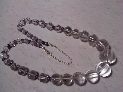 Antique Pools of Light CARVED MELON BEAD rock crystal necklace Sterling Clasp