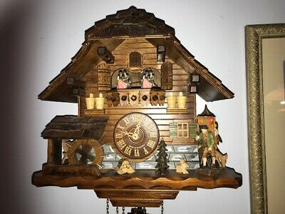 Large German Music  Cuckoo Clock 8 day Chalet Style Dancers/Spinning Water Wheel