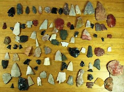 4 Nice Native American Indian Arrowheads & 87 Broke, Incomplete,  Or Tools