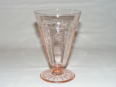 Vintage Anchor Hocking Pink Depression Glass Princess Footed Tumbler Glass