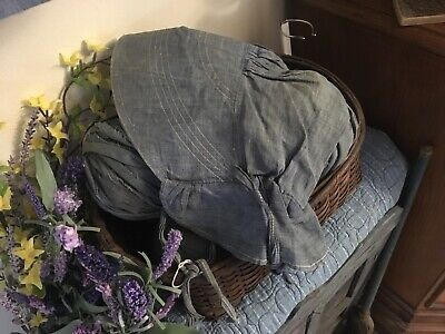moprimitivepast BEST Antique blue  pegrack childs girls bonnet primitive AAFA
