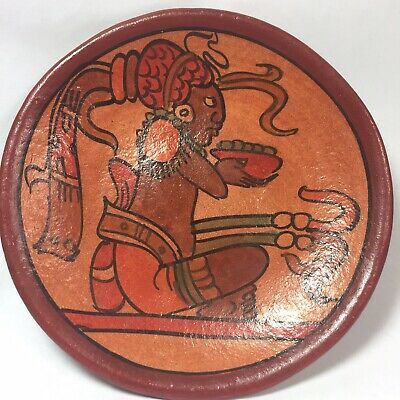 Mexico Pre-Columbian Style Reproduction Wall Plaque Terra Cotta Pottery Aztec