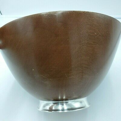 FISHER Vintage Mahogany Wood Bowl Sterling Silver Base Comes with Fork & Spoon