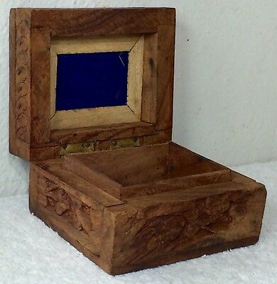 Hand Carved Wooden Jewelry Box Trinket Case Wood Earings Ring Hand Crafted India