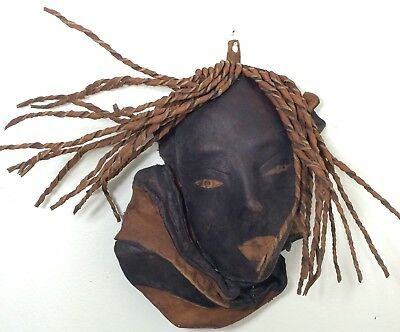 Antique Persian Mask Art Face Handmade Leather Old Museum Piece History Head Eye