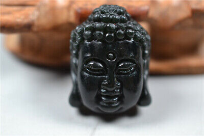 Collection Chinese 100%natural Dark green jade Hand-carved Buddha head Pendant