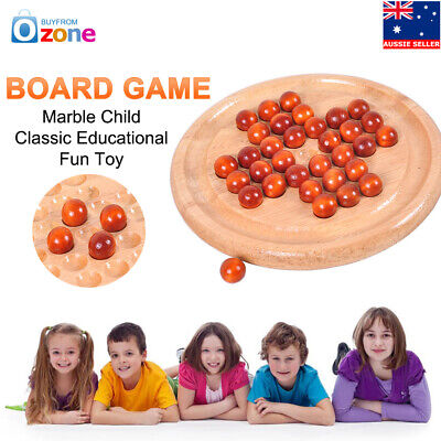 Wooden Marble Solitaire Board Game Child Educational Fun Strategy Creative Toy