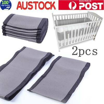 Baby Cot Bumper Breathable Mesh Crib Liner Infant Nursery Bedding Protector AU