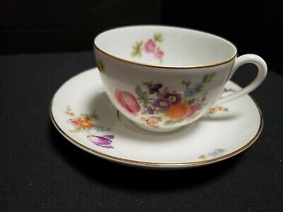 Vtg KPM Germany Tea Cup and  Saucer Floral Gold Gilted Crown Marked ( Set  # 2)