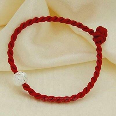 Chinese Feng Shui Lucky Red String Rope Hand-woven Pieces With Silver Beads LJ