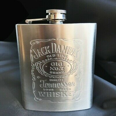 JACK DANIELS Old No.7 WHISKEY Hip Flask Stainless Steel (200ml) Flagon NEW