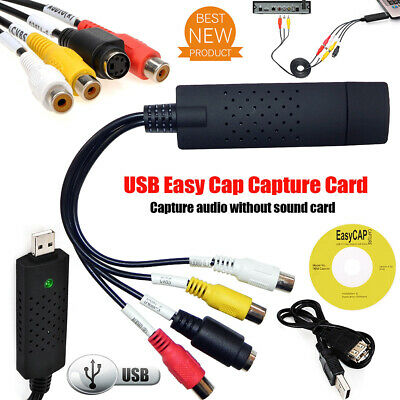 USB 2.0 Video Capture Card Converter PC Adapter TV Audio DVD VHS Window 7 8 10
