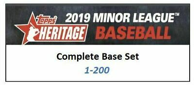 2019 Topps Heritage Minor League COMPLETE BASE SET 1-200 200 CARDS Qty Avail