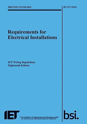 18th EDITION ! IET WIRING REGULATIONS BS7671:2018 BS7671 2018 Wiring Regs BOOK