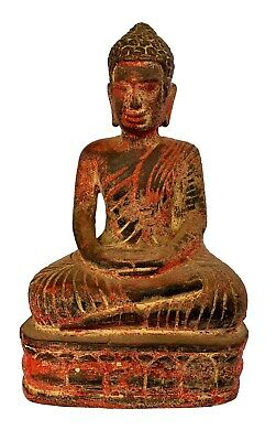 Antique Thai Style SE Asia Wood Meditation Buddha Statue - 26cm/10""