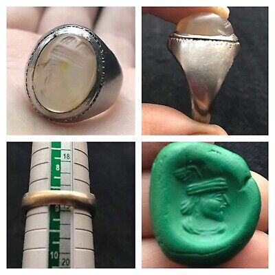 Very Old Antique Roman King Face Intaglio Stamp Mix Sliver Ring