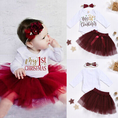 AU Newborn Baby Girl My 1st Christmas Romper Skirt Dress Headband Outfit Clothes