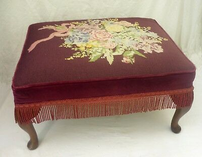 1940s HAND-WORKED TAPESTRY STOOL / FOOTSTOOL foot stool
