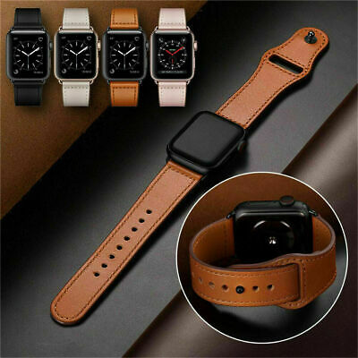 Genuine Leather Bracelet Loop Strap Wrist Watch Band for Appl e iWatch 5/4/3/2/1