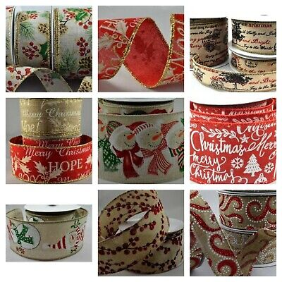 Wired Edge Hessian Christmas Ribbons ~ For Cakes, Gift Bows, Trees, Wreaths