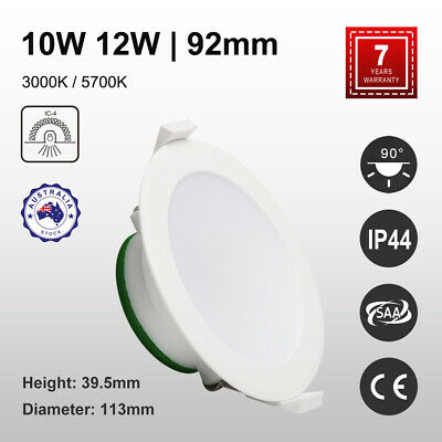 LED DOWNLIGHT KIT 92mm 10W/12W Ceiling Spotlight IP44 NONDIM Warm/Cool 90°Beam