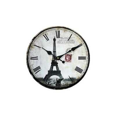 Clock Wall Clock Eiffel Tower II from Wood Ø 34cm Antique White My Flair