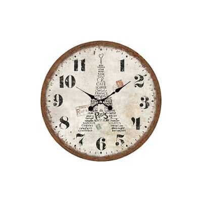 Clock Wall Clock Eiffel Tower III from Wood Ø 34cm Antique White My Flair