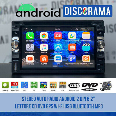 "Stereo Auto Radio Android 2 Din 6.2"" Lettore Cd Dvd Gps Wi-Fi Usb Bluetooth Mp3"