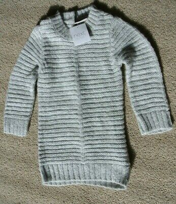 New baby girls chunky knit long sleeve dress  Grey/silver 9-12 months