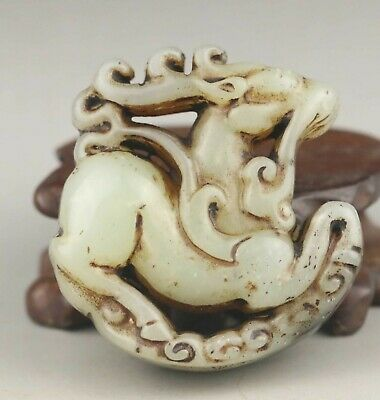 Chinese old natural jade hand-carved statue deer pendant 2 inch