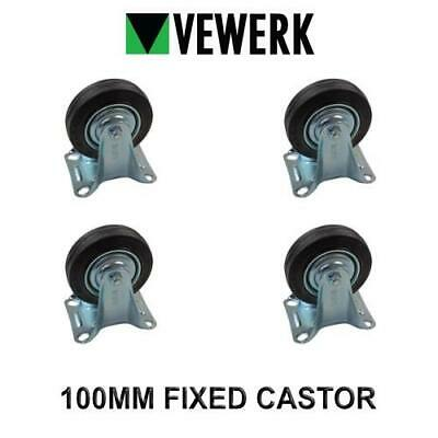 VEWERK Industrial 100mm Fixed castor Rubber Wheel X 4 9090
