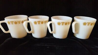 Set of 4 Vintage Pyrex Corning Coffee Cups Mugs Butterfly Gold D Handle #1410