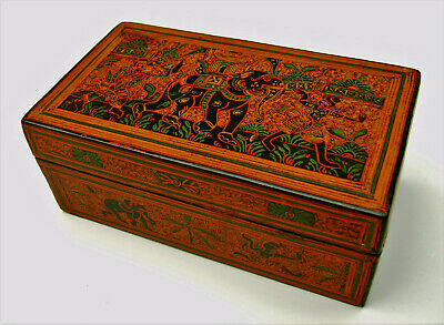 Burmese Yun type lacquer rectangular box painted figures elephants architectural