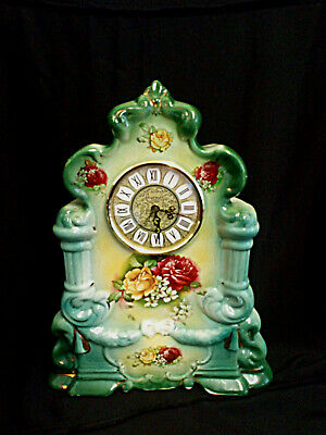 Vintage Porcelain Victorian Mantle Clock Battery Operated Floral Hand Painted