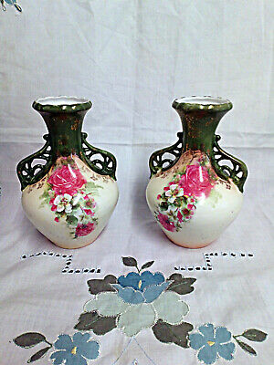 Vintage Pair of Small Victorian Porcelain Bud Posy Vases Floral Hand Painted