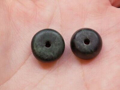 Pre-Columbian Dark Green Jade Beads, Set of 2, Authentic