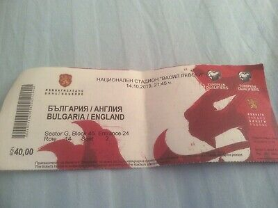 USED TICKET BULGARIA  v ENGLAND EURO 2020 QUALIFIER 14th OCTOBER 2019