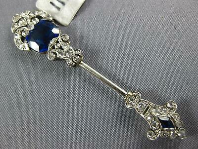 Antique 3.06Ct Old Mine Diamond & Sapphire 18Kt White Gold Art Deco Lacloche Pin