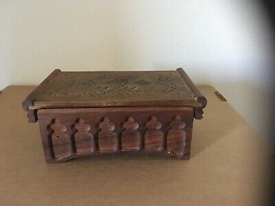 Mid Century Hand Carved Wood Trinket Box Souvenir of Konjic, Made in Jugoslavia