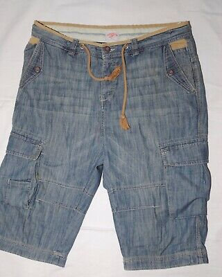 River Island Mens Blue & Brown Jean Look Shorts Size 34