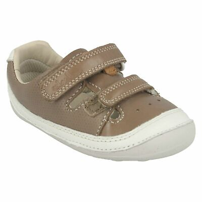 Boys Toddler Clarks Tiny Boy Hook & Loop Pre Walking Summer Shoes Leather Size
