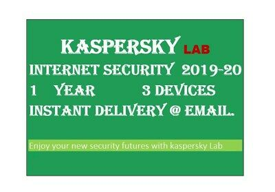 Kaspersky Internet Security 2020/ 3 Devices/1Year|Worldwide|Delivery via message