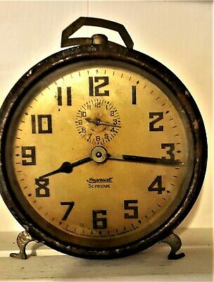 """Antique Alarm Clock by INGERSOLL SUPREME - Very Old Rusty Large - 5.x 6 """" 1910"""